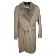 Chanel leather shearling-lined trench coat as seen on Rihanna